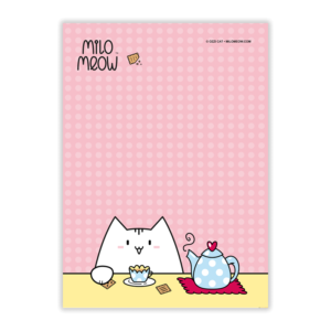 MILO-TODO-LIST-SET-001-Sweet-Yummy-Time-04_preview01_Milo-Meow-Cat-tea-pot-cookies-mug-cozy_Kitten-Notepad–ToDo-List–Day-Planner–Memo-Pad–Shopping–Cat-Stationery-Gift