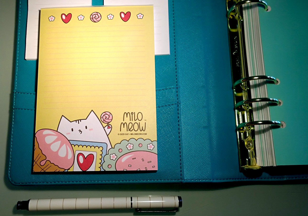 Cute Milo Meow Cat Notepad For Kikki.K Planner
